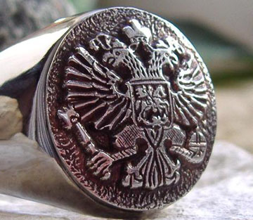 AJS Russia Imperial Eagle Pоссnr Oреn Ring Surgical Steel Or Gold Plated D46